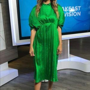 Zara green Pleated Dress